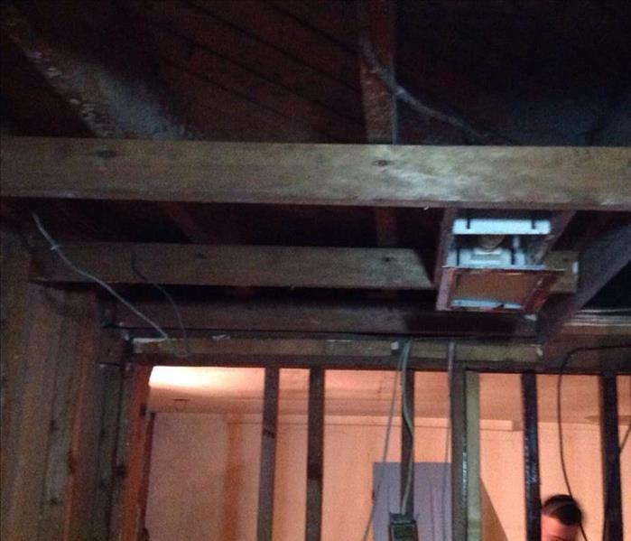Basement ceiling rafters exposed