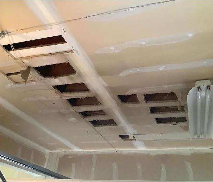 Ceiling with holes cut in it