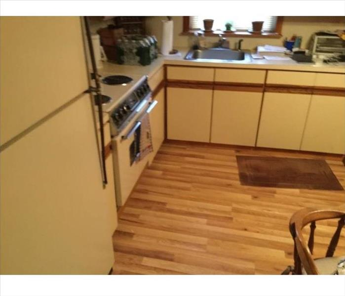 Kitchen with appliances and wood flooring