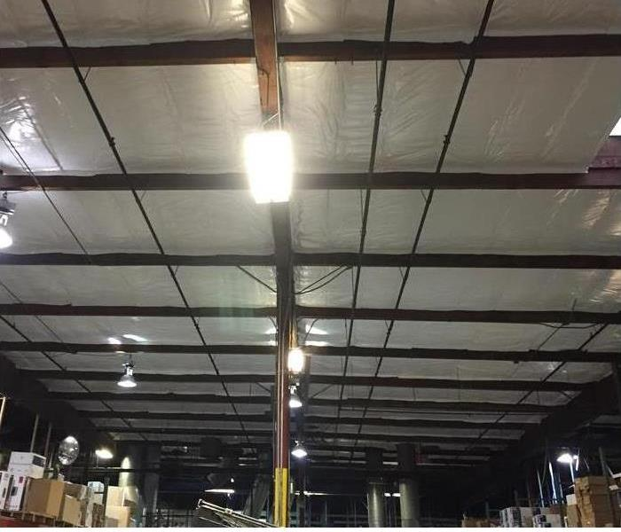 clean looking material backed warehouse ceiling