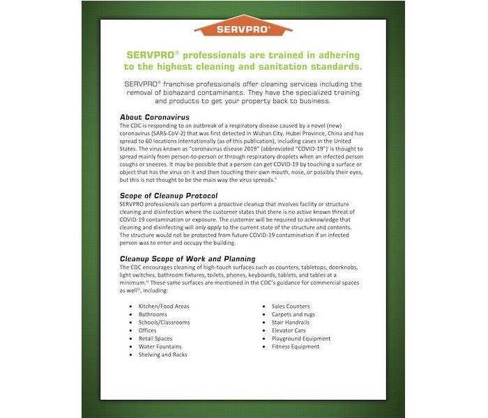 Flyer with the SERVPRO logo and text