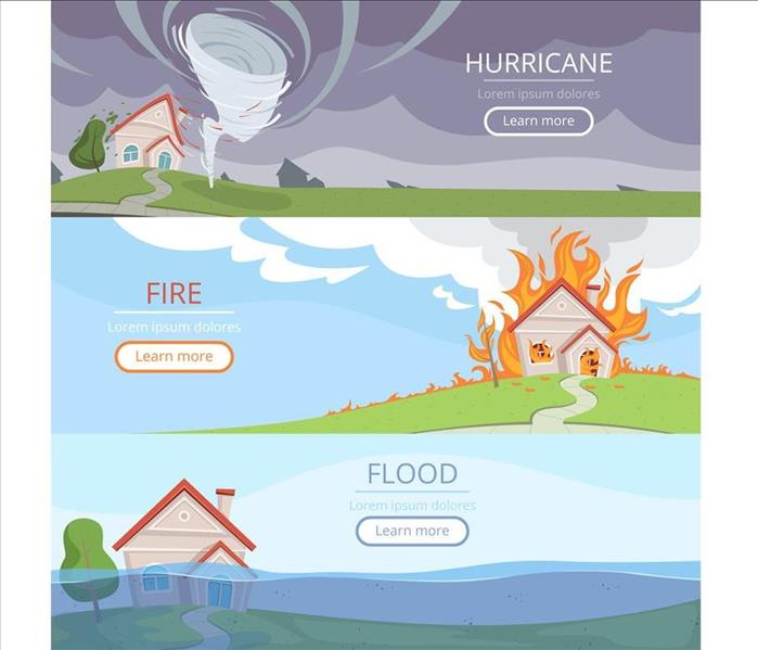 3 panel cartoon showing hurricane, flooding, and a house fire