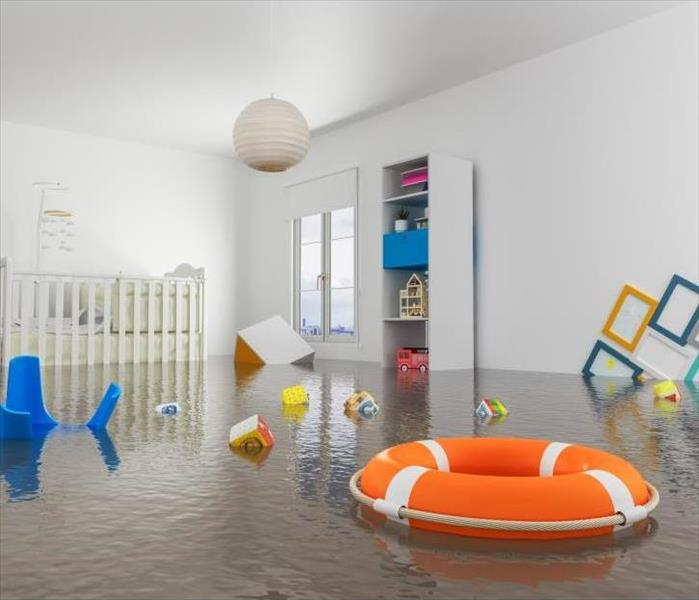 flooded nursery within a home